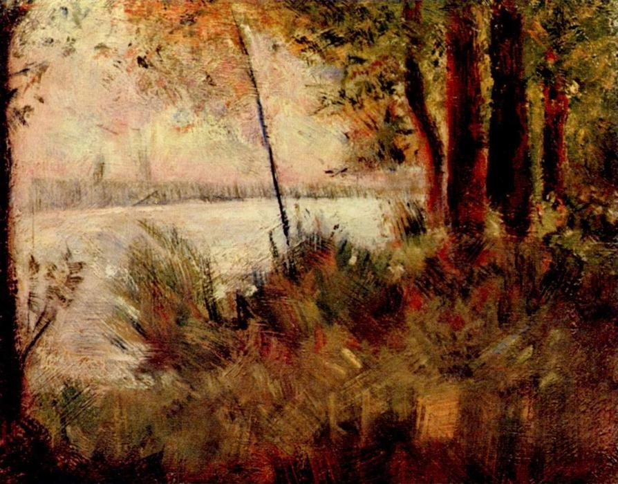 Grassy Riverbank, Oil On Canvas by Georges Pierre Seurat (1859-1891, France)