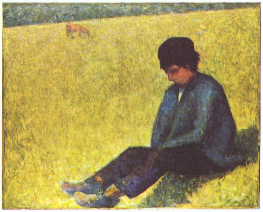 Peasant boy sitting in a meadow, Oil On Canvas by Georges Pierre Seurat (1859-1891, France)