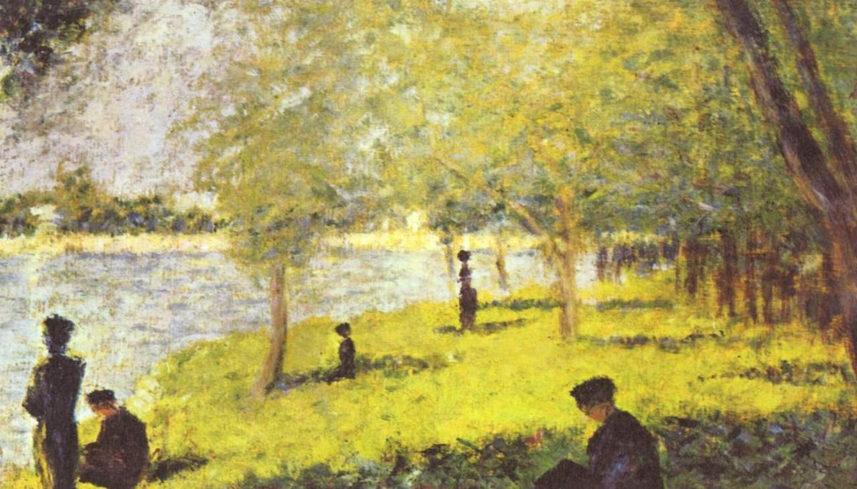 Study with Figures. Study for `La Grande Jatte`, 1885 by Georges Pierre Seurat (1859-1891, France) | Paintings Reproductions Georges Pierre Seurat | WahooArt.com