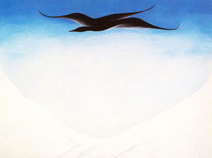 Georgia Totto O-keeffe - A Black Bird With Snow Covered Red Hills