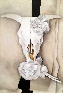 Georgia Totto O-keeffe - Cow-s Skull with Calico Roses