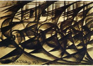 Giacomo Balla - Speeding Car (study). Abstract Speed.