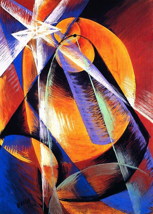 Planet Mercury passing in front of the Sun, 1914 by Giacomo Balla (1871-1958, Italy) |  | WahooArt.com