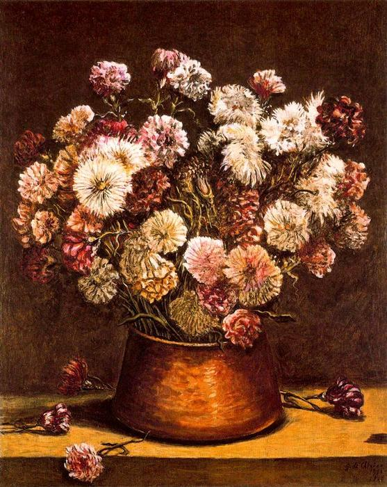 Still life with flowers in copper bowl, Oil On Canvas by Giorgio De Chirico (1888-1978, Greece)