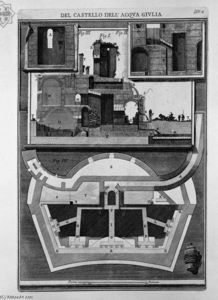 Giovanni Battista Piranesi - Plan and vertical sections of the castle