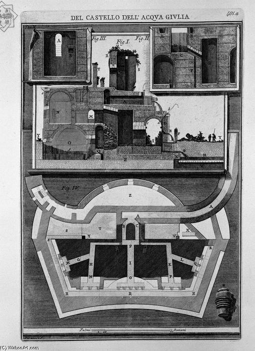 Plan and vertical sections of the castle by Giovanni Battista Piranesi (1720-1778, Italy) | WahooArt.com