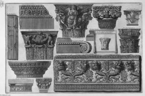 Giovanni Battista Piranesi - Several capitals and a frieze of Roman Villas