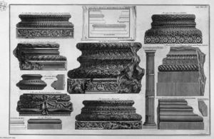 Giovanni Battista Piranesi - Various bases and a stem of columns