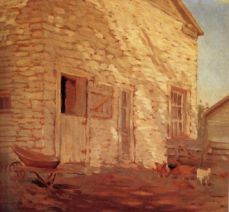 Old Stone and barn, 1919 by Grant Wood (1891-1942, United States)