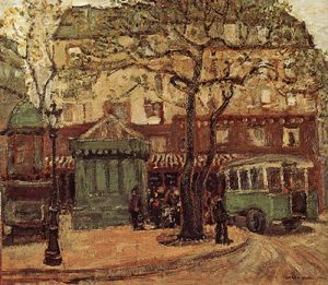 Grant Wood - Greenish Bus in Street of Paris