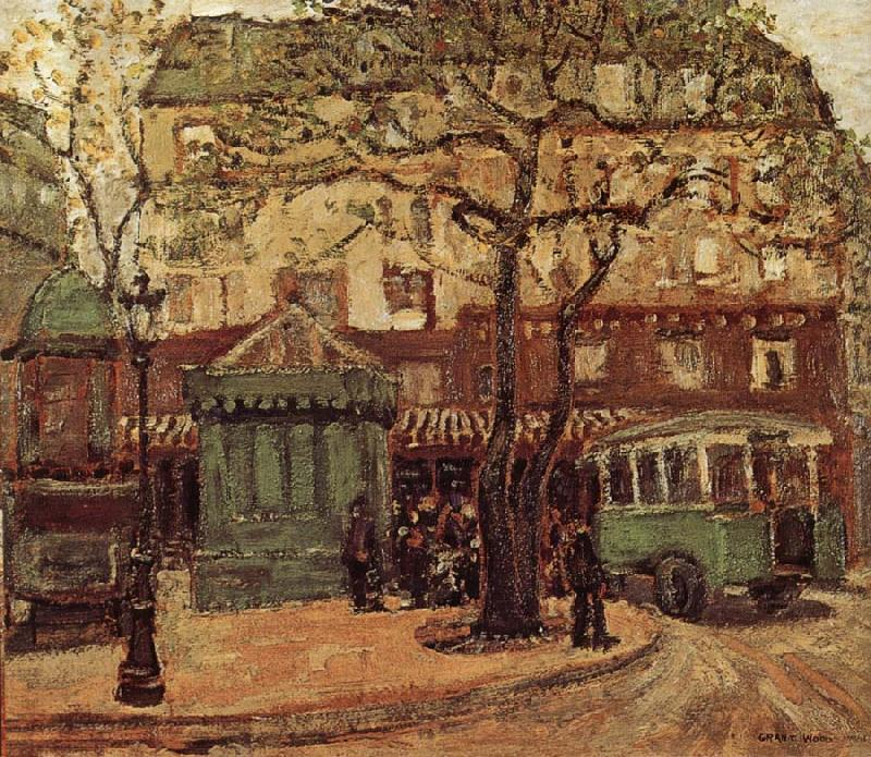 Greenish Bus in Street of Paris, 1926 by Grant Wood (1891-1942, United States)
