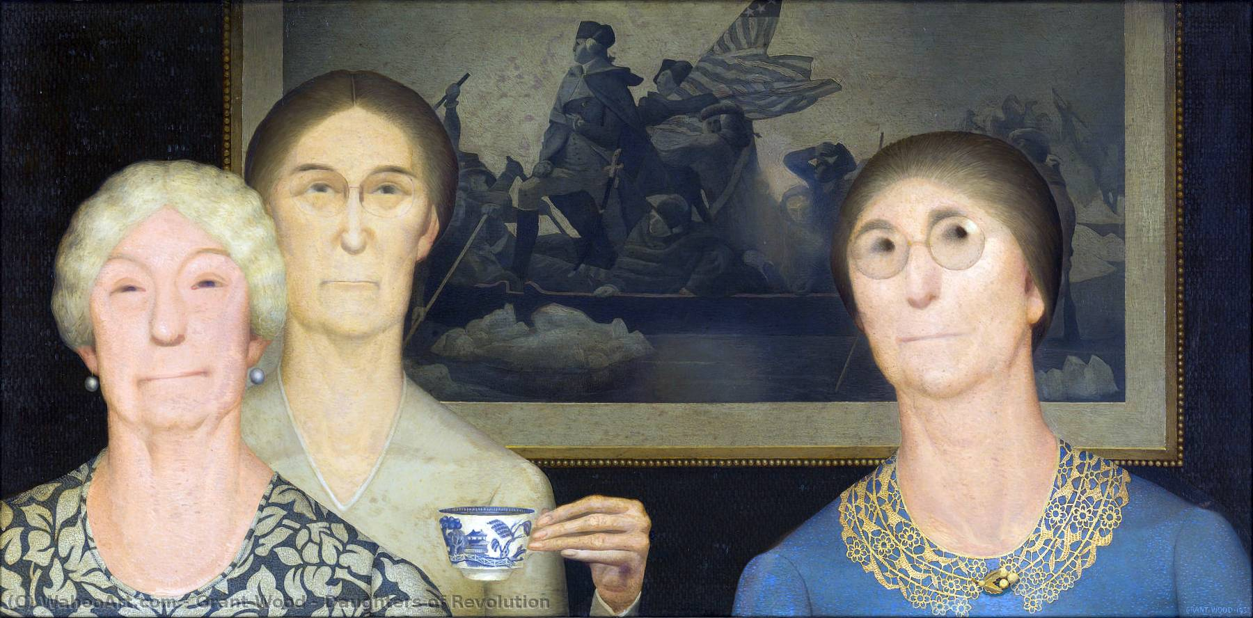 Daughters of Revolution, 1932 by Grant Wood (1891-1942, United States) | Museum Quality Reproductions | WahooArt.com
