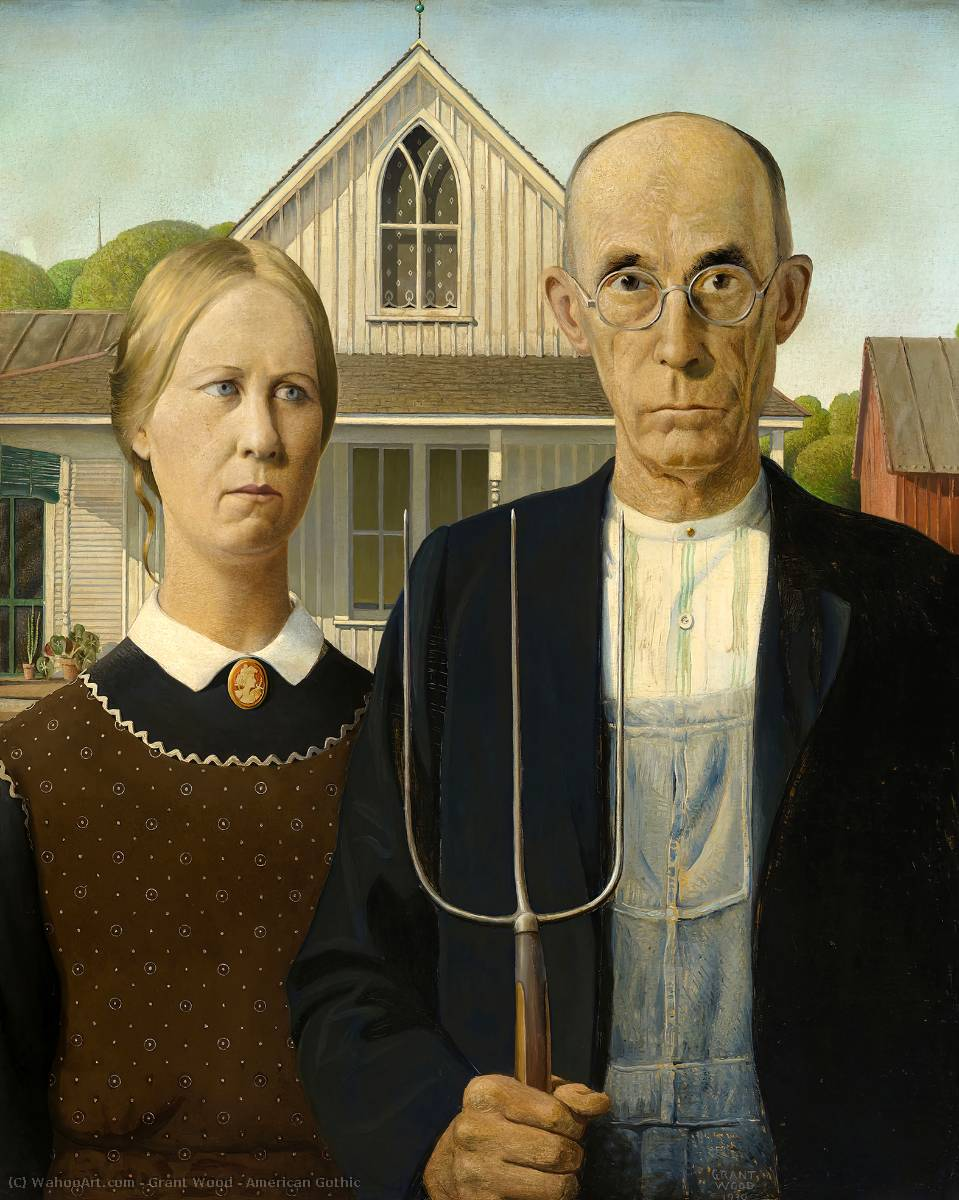 American Gothic, Oil by Grant Wood (1891-1942, United States)
