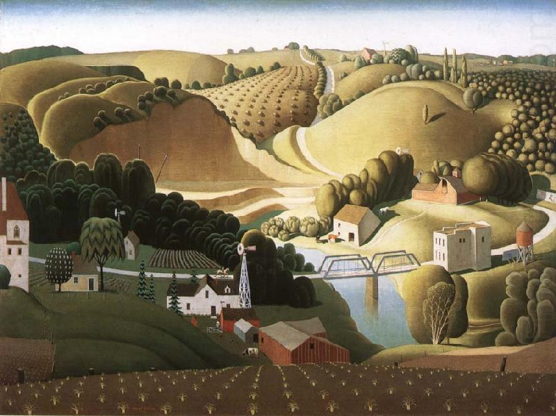 Stone city, Iowa, Oil by Grant Wood (1891-1942, United States)