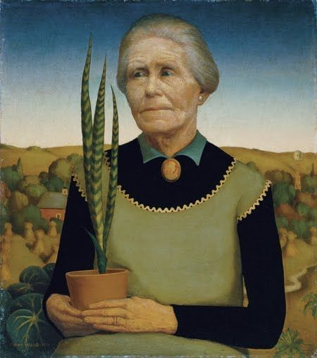 Woman with Plants, Oil by Grant Wood (1891-1942, United States)