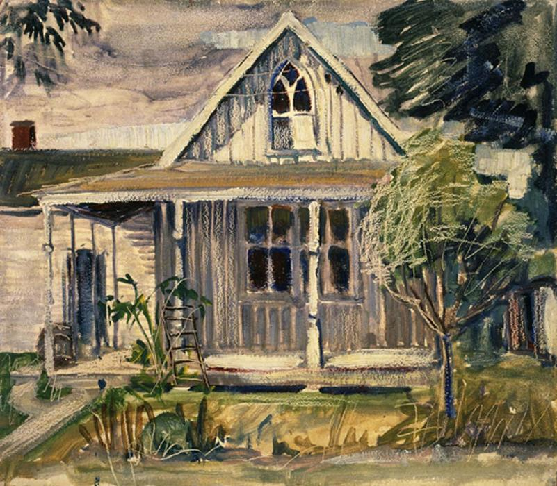 Sketch for house in American Gothic, 1930 by Grant Wood (1891-1942, United States)