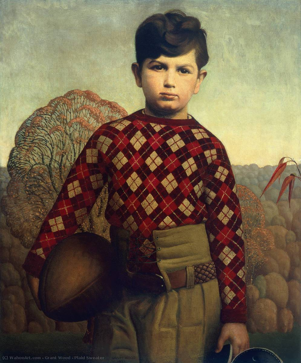 Plaid Sweater, Oil by Grant Wood (1891-1942, United States)