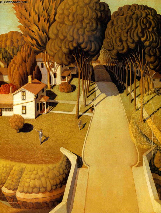 The Birthplace of Herbert Hoover, Wood by Grant Wood (1891-1942, United States)