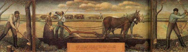 A short break from pasture work, 1939 by Grant Wood (1891-1942, United States)