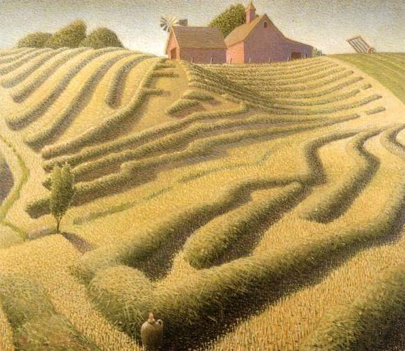Haying, Oil On Canvas by Grant Wood (1891-1942, United States)