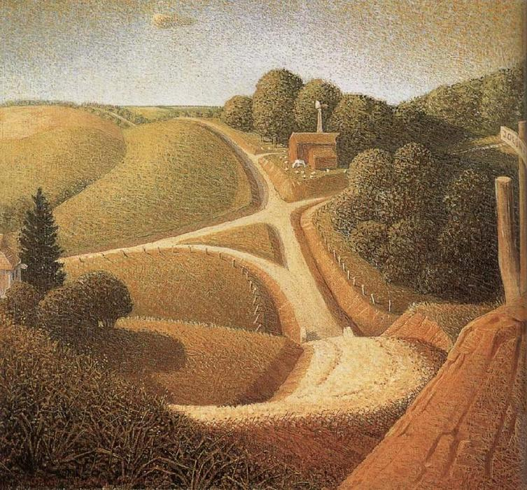 New Road, 1939 by Grant Wood (1891-1942, United States) | Paintings Reproductions Grant Wood | WahooArt.com