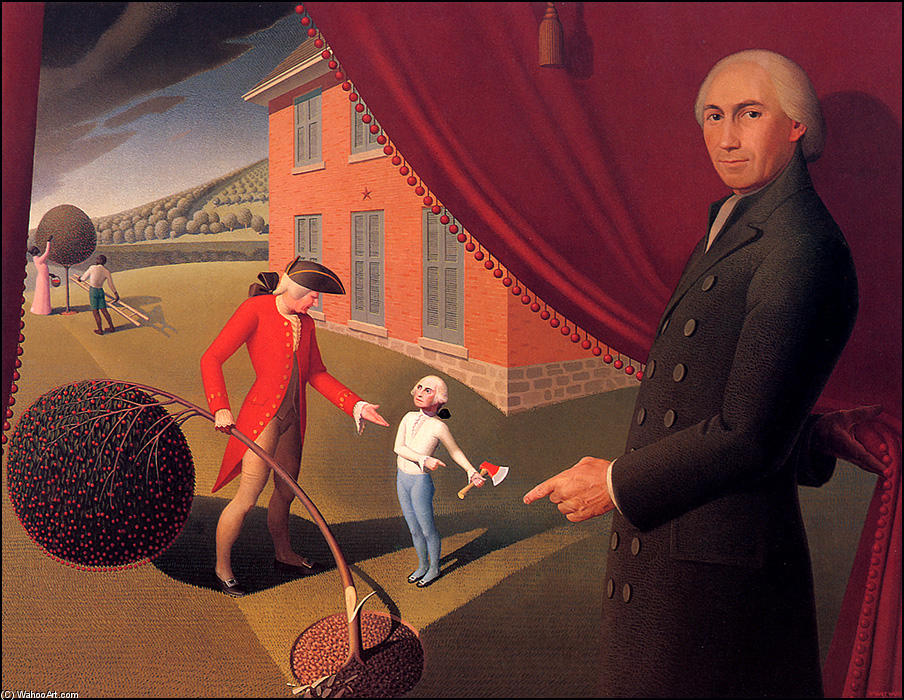 Parson Weem's Fable, Chalk by Grant Wood (1891-1942, United States)