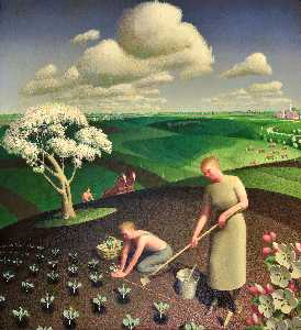 Grant Wood - Spring in the Country
