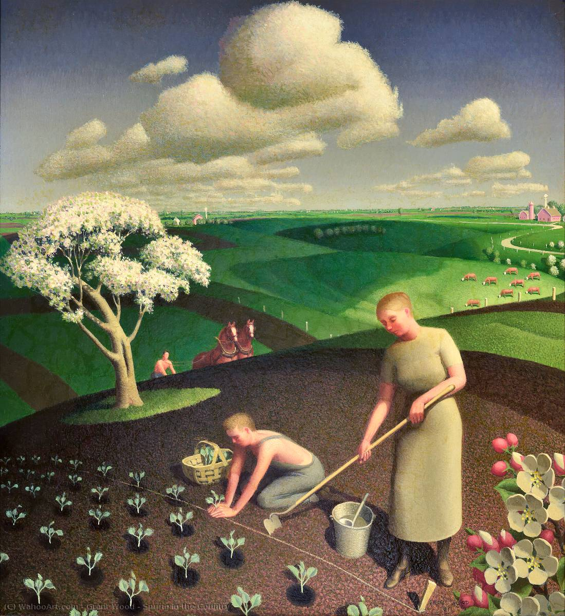 Spring in the Country, Oil by Grant Wood (1891-1942, United States)
