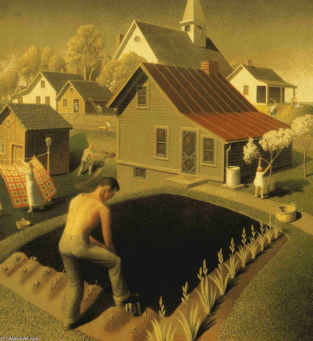 Spring In Town, 1941 by Grant Wood (1891-1942, United States)