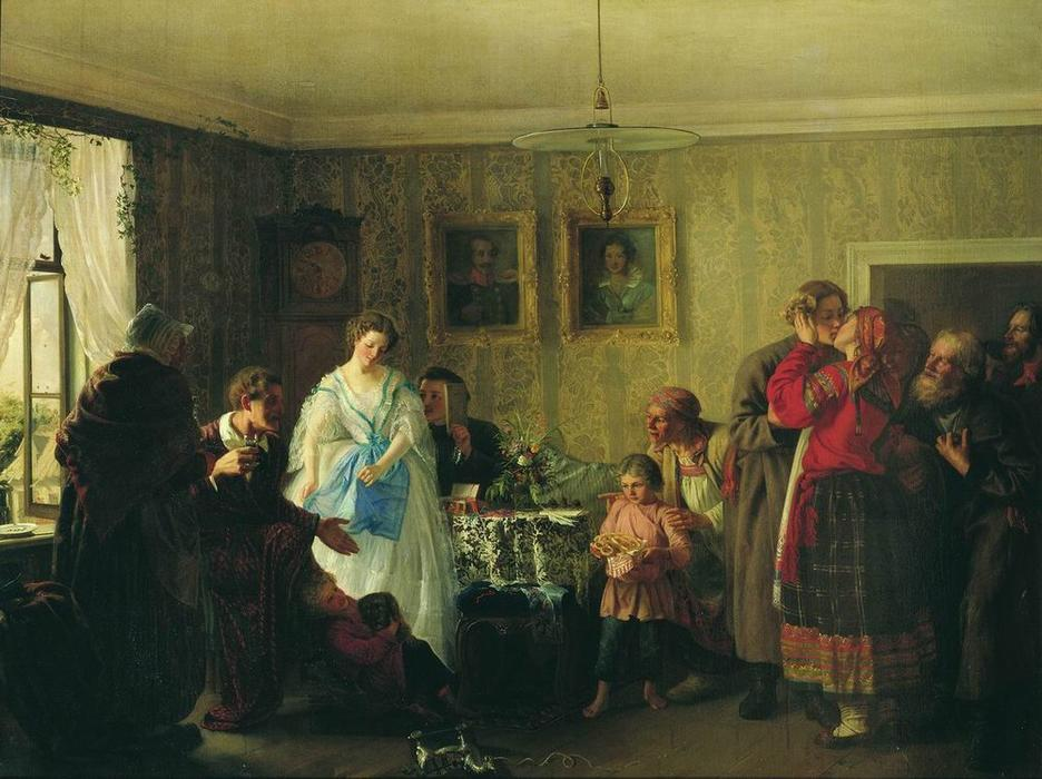 Congratulation of betrothed in landlord`s house, 1861 by Grigoriy Myasoyedov (1834-1911, Russia) | Museum Quality Reproductions | WahooArt.com