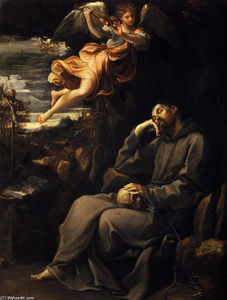 Reni Guido (Le Guide) - Saint Francis deadened with an angel musician