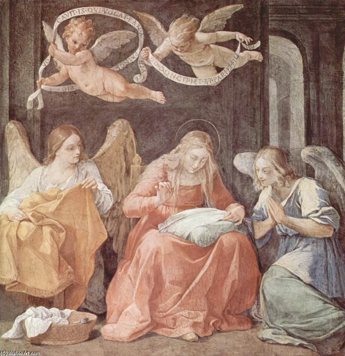 Mary and angels, 1611 by Reni Guido (Le Guide) (1575-1642, Italy) | Museum Art Reproductions Reni Guido (Le Guide) | WahooArt.com