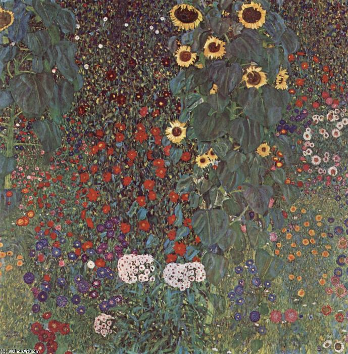 Country Garden with Sunflowers, 1906 by Gustav Klimt (1862-1918, Austria) | Museum Art Reproductions Gustav Klimt | WahooArt.com