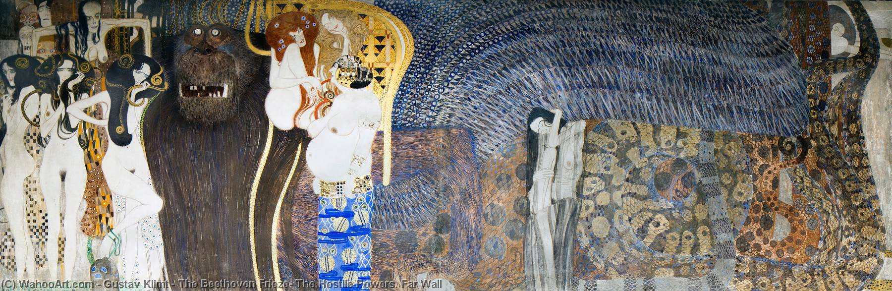 The Beethoven Frieze: The Hostile Powers. Far Wall, 1902 by Gustav Klimt (1862-1918, Austria) | Art Reproduction | WahooArt.com