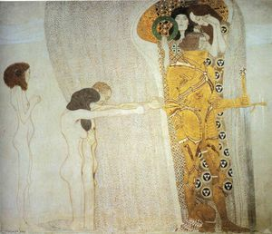 Gustav Klimt - The Beethoven Frieze: The Longing for Happiness. Left wall