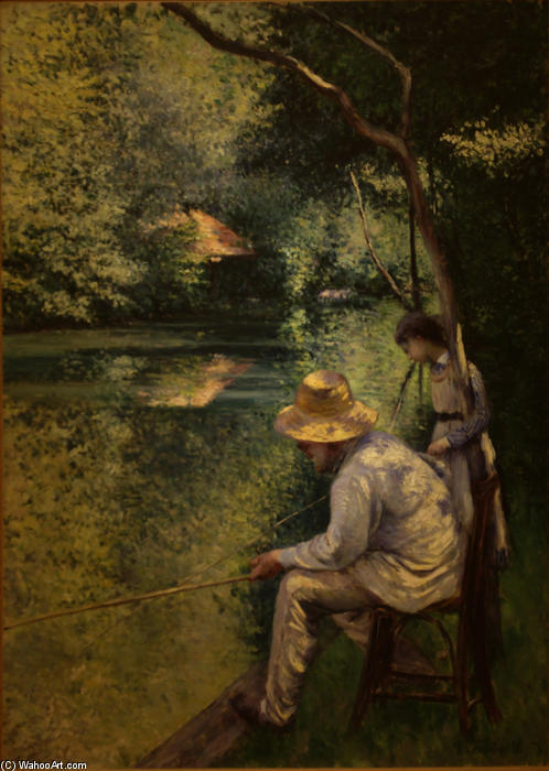 Angling, Oil On Canvas by Gustave Caillebotte (1848-1894, France)