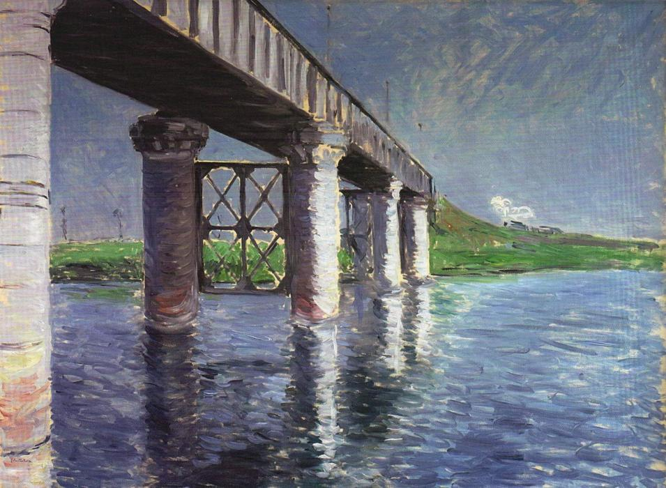 The Bridge at Argenteuil, 1887 by Gustave Caillebotte (1848-1894, France) | Painting Copy | WahooArt.com
