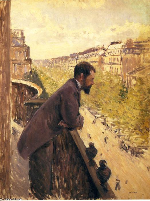 Man on a Balcony, Oil On Canvas by Gustave Caillebotte (1848-1894, France)