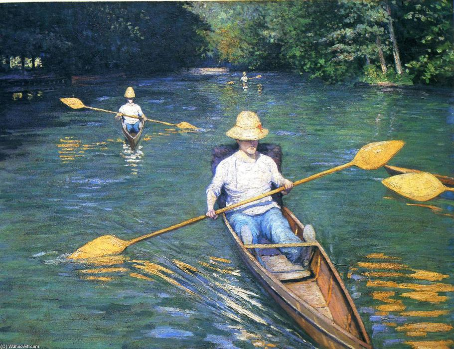 Skiffs on the Yerres, Oil On Canvas by Gustave Caillebotte (1848-1894, France)