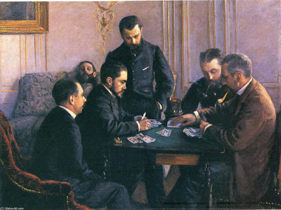 The Bezique Game, Oil On Canvas by Gustave Caillebotte (1848-1894, France)