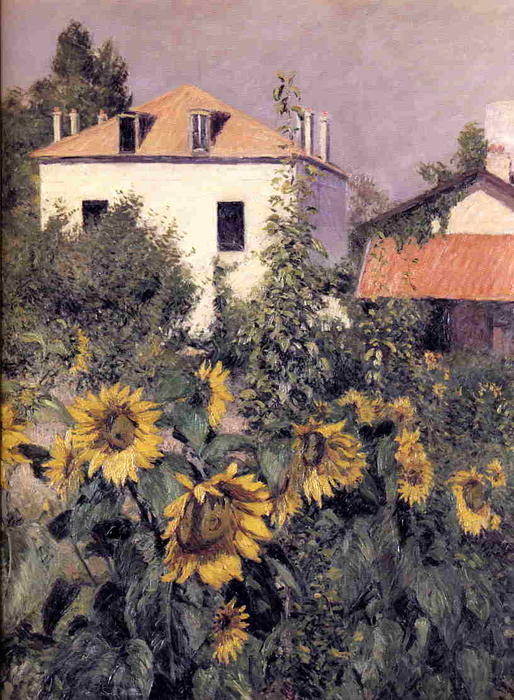 Sunflowers in the Garden at Petit Gennevilliers, Oil On Canvas by Gustave Caillebotte (1848-1894, France)