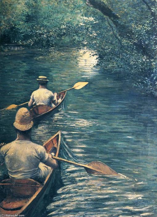 The Canoes, 1878 by Gustave Caillebotte (1848-1894, France) | Painting Copy | WahooArt.com