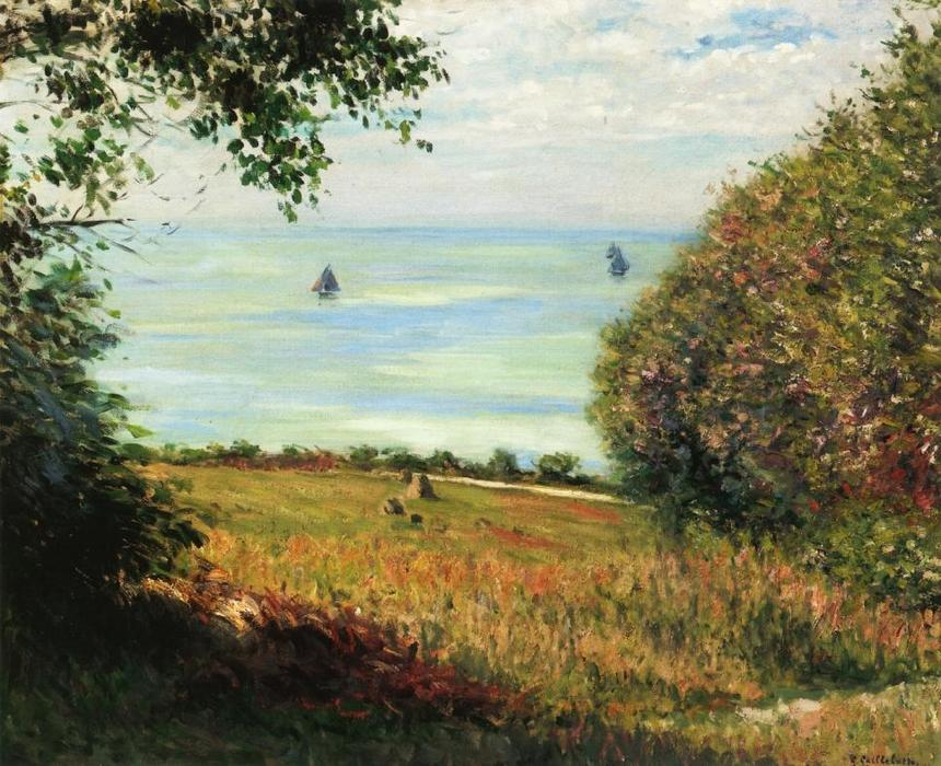 View of the Sea from Villerville, Oil On Canvas by Gustave Caillebotte (1848-1894, France)
