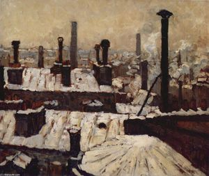 Gustave Caillebotte - Roof under the Snow, Paris