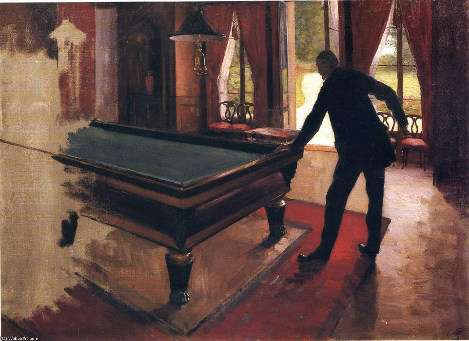 Billiards, 1876 by Gustave Caillebotte (1848-1894, France) | Famous Paintings Reproductions | WahooArt.com