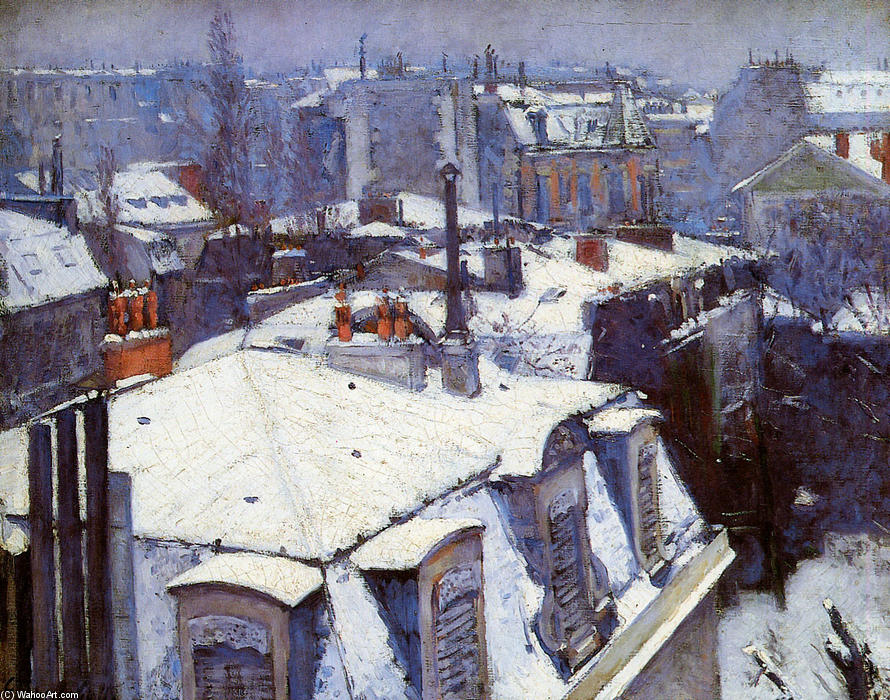View of Roofs (Snow Effect) or Roofs under Snow, Oil On Canvas by Gustave Caillebotte (1848-1894, France)