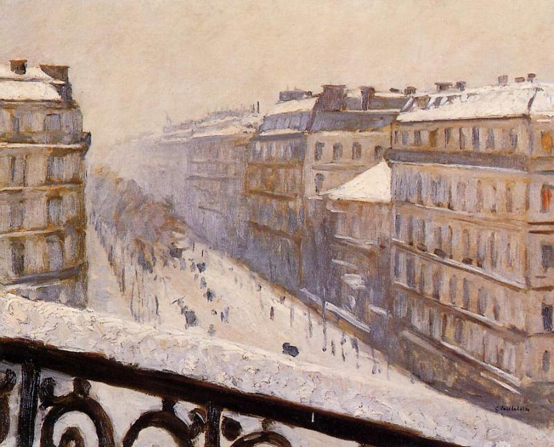 Boulevard Haussmann in the Snow, Oil On Canvas by Gustave Caillebotte (1848-1894, France)