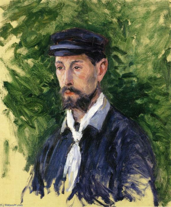 Bust Portrait of Eugene Lamy, Oil On Canvas by Gustave Caillebotte (1848-1894, France)