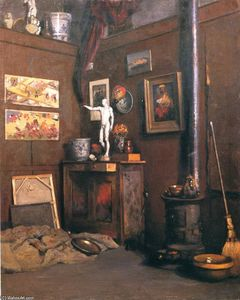 Interior of a Studio, Oil On Canvas by Gustave Caillebotte  (order Fine Art oil painting Gustave Caillebotte)
