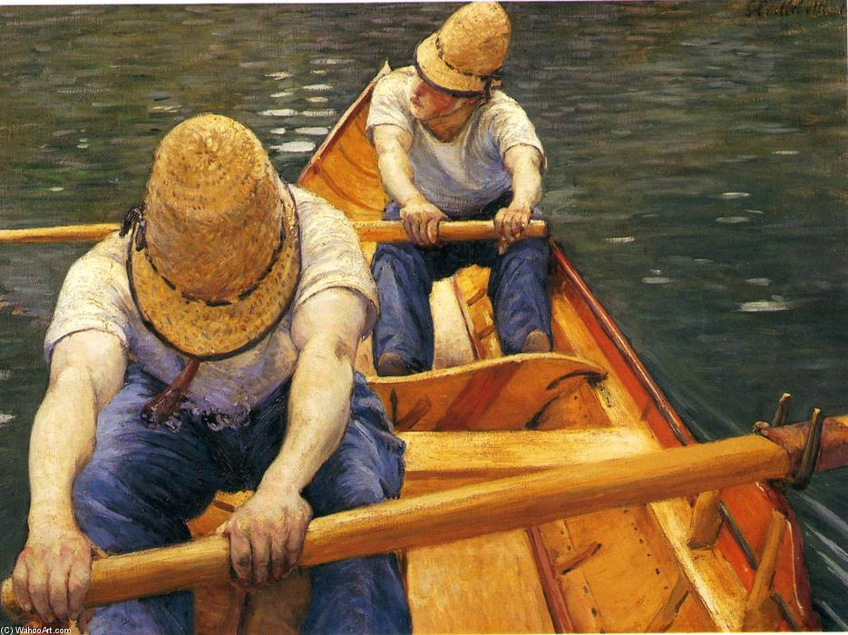 Boaters Rowing on the Yerres, 1879 by Gustave Caillebotte (1848-1894, France) | Oil Painting | WahooArt.com
